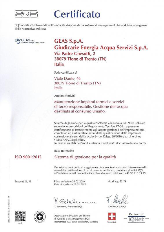 Sistema di Gestione per la Qualità ISO 9001:2015